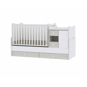 Lorelli Minimax Kombi Ágy 72 x 190 - White & Light Oak / Fehér & Világos Tölgy