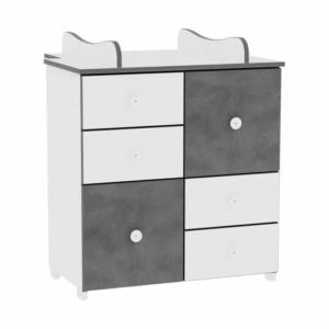 Lorelli Cupboard Pelenkázó Komód - White & Vintage Grey / Fehér & Vintage Szürke